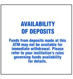 Availability of Deposits Decal