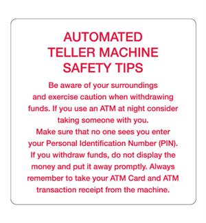 ATM Safety Tips Decal